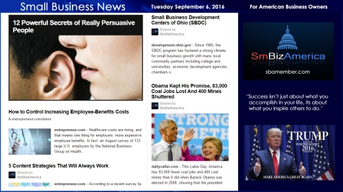 Small Business News Tuesday September 6, 2016