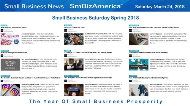 Small Business News Saturday 3-24-18 | SmBizAmerica