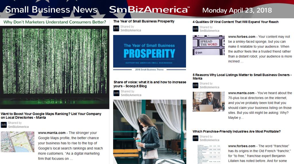Small Business News Monday 4-23-18 | SmBizAmerica®