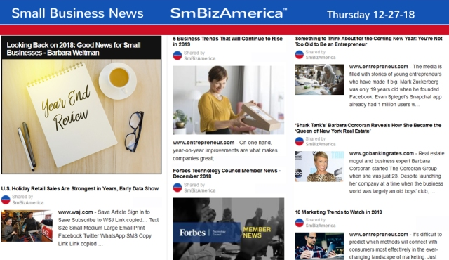 Small Business News 12-27-18 Small-Business-News #SmBizAmerica
