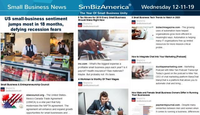 SmallBusinessNews 12-11-19 @SmBizAmerica Small Business News