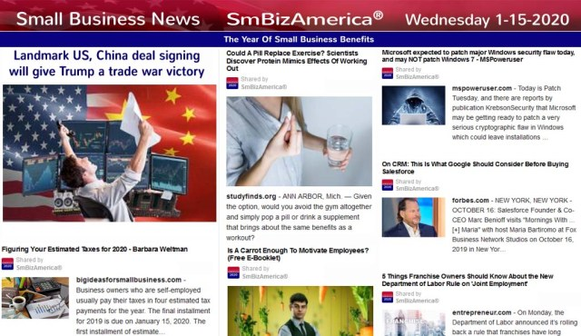 Small Business News 1-15-2020 @SmBizAmerica